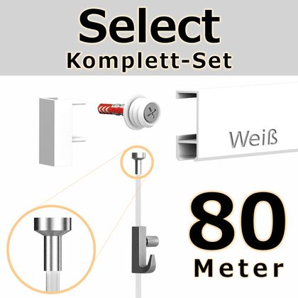 Bilderschienen Set 80 m in Weiß - Select - Bilderschiene inklusive Zubehör