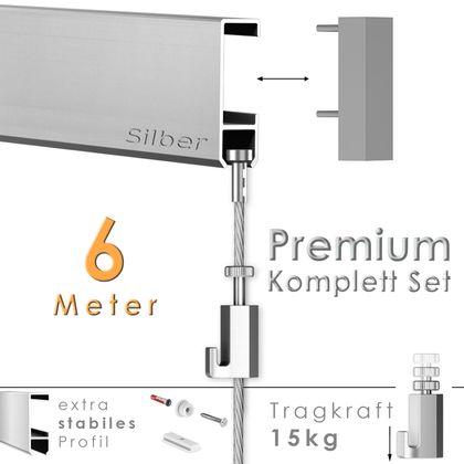 """Galerieschienen Set 6 m in Silber """"Robust"""" - Premium Galerieschiene inklusive Zubehör"""