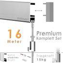 """Galerieschienen Set 16 m in Silber """"Robust"""" - Premium Galerieschiene inklusive Zubehör 001"""