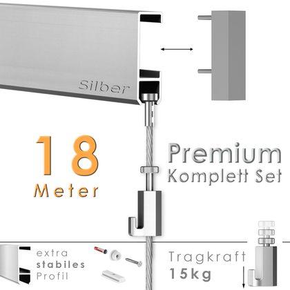 """Galerieschienen Set 18 m in Silber """"Robust"""" - Premium Galerieschiene inklusive Zubehör"""