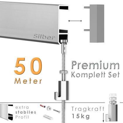 Galerieschienen Set 50 m in Silber - Premium Galerieschiene inklusive Zubehör