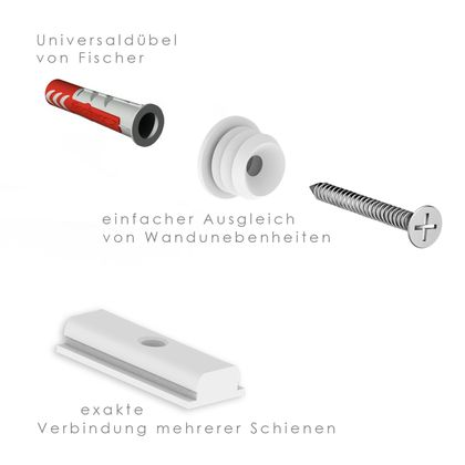 50 Meter Premium Set - Bilderschienen - Galerieschienen - Komplett Set in silber – Bild 7