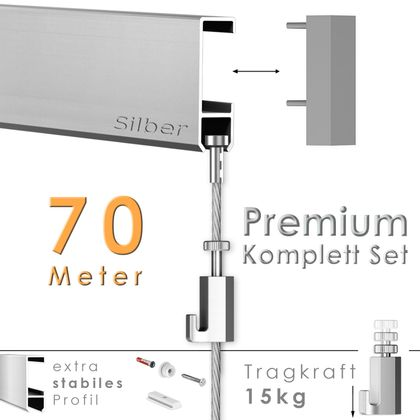 Galerieschienen Set 70 m in Silber - Premium Galerieschiene inklusive Zubehör
