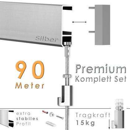 """Galerieschienen Set 90 m in Silber """"Robust"""" - Premium Galerieschiene inklusive Zubehör"""