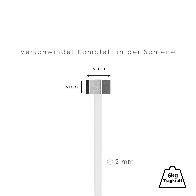 Bilderschienen hang-it 2 Perlonseile mit Eck Gleiter L/änge 1,50m f/ür Galerieschienen